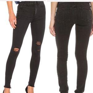 Rag & Bone black high waist distressed skinny jean
